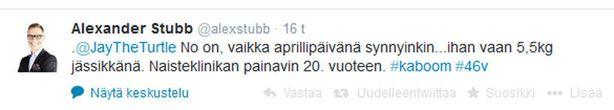 Stubb paljasti syntymäpainonsa Twitterissä.