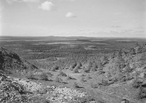 Näkymä Rukan huipulta 1930-luvulla.