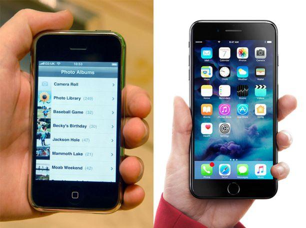 Ensimmäinen ja viimeisin Iphone näyttää hämmentävän samanlaisilta. Kymmenessä vuodessa ulkoisia uudistuksia ei juurikaan ole tapahtunut.