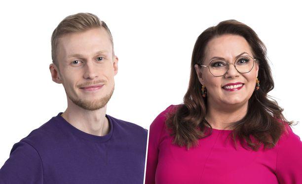 Roni Bäck ja Nina Mikkonen ilmoittautuivat vapaaehtoisiksi ulkoasukeiksi.