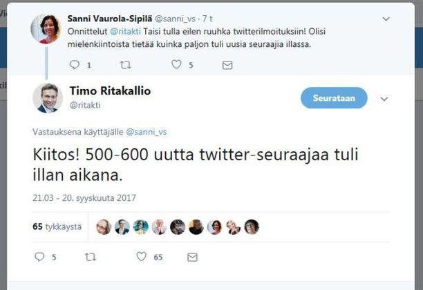 Timo Ritakallio keräsi nimityksensä jälkeen satoja uusia seuraajia Twitter-tililleen. Monet uusista seuraajista ovat osuuspankkiryhmäläisiä, joiden on ollut pikku pakko hurrata nykyisen pääjohtajan Reijo Karhisen tviiteille.