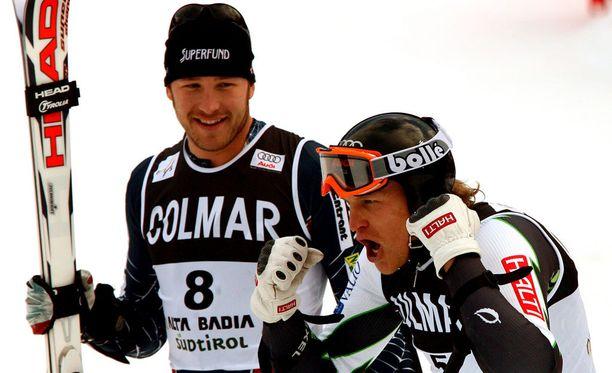Miller ja Kalle Palander olivat aikanaan kovat kilpakumppanit. Kuva vuodelta 2006, kun Palander voitti Alta Badiassa maailmancupin suurpujottelukisan. Miller oli kisassa toinen.