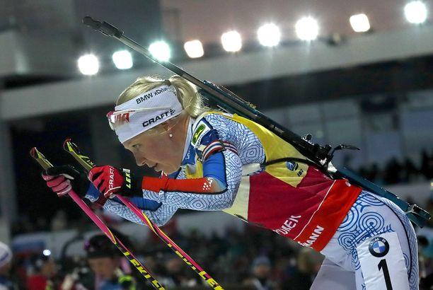 Kaisa Mäkäräinen voitti Kontiolahden pikakisan, vaikka suksi ei ollut paras mahdollinen.