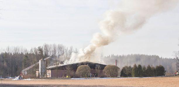 Kanala syttyi tuleen Aitoontiellä Pälkäneellä.