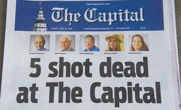Viisi ihmistä sai surmansa eilen torstaina Marylandissa, kun mies avasi tulen Capital Gazette -lehden toimituksessa.