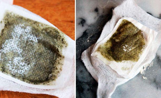 """Detox-laastari liimattiin koemielessä marmorilautaseen (kuva oikealla). Siitä irtosi """"kuonaa"""" saman verran kuin jalkapohjastakin."""