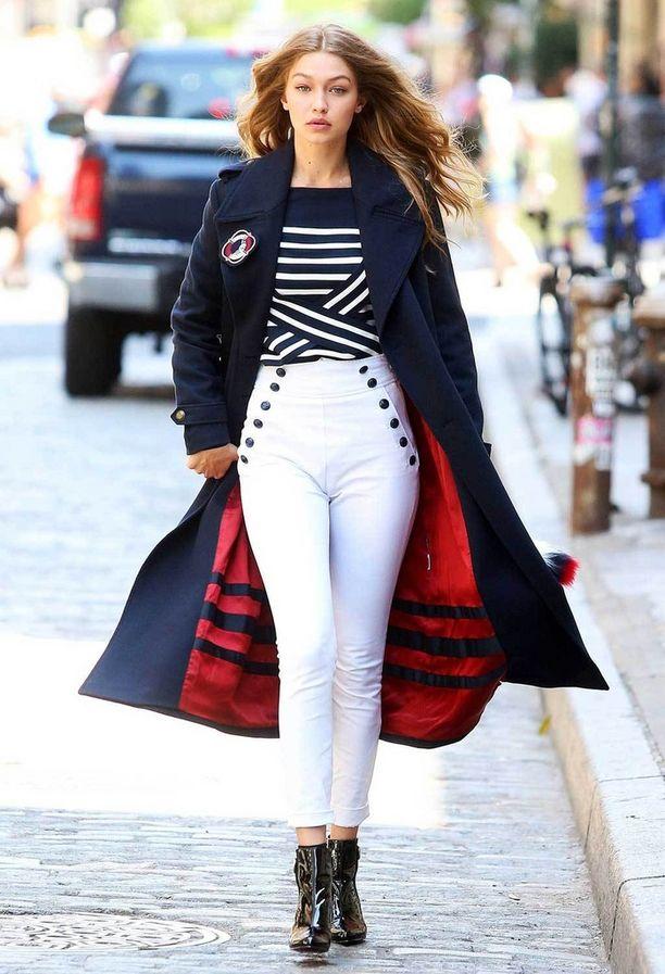Gigi Hadid kuvauksissa New Yorkissa.