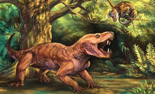 Gorynychus saalistamassa puussa asuvaa kasvissyöjää. Taiteilijan näkemys.