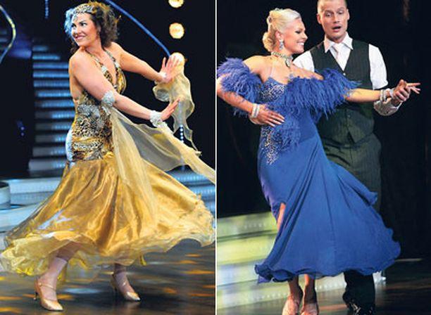 Miia Nuutilan romanttinen puku hiuskoristeineen sai lähes viidenneksen kaikista äänistä ollen kolmanneksi kaunein. Sanni Siuruan syvänsininen puku sijoittui Iltalehden lukijoiden äänestämänä neljänneksi.