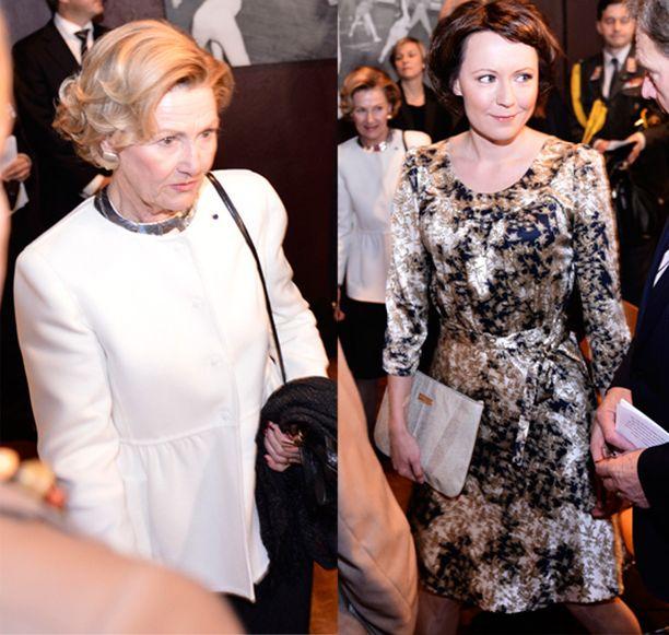 Kuningatar Sonja ja rouva Jenni Haukio edustivat toisena valtiovierailupäivänä tähän tyyliin.