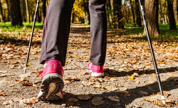 Kävelysauvojen käyttö tehostaa lenkin vaikutuksia.