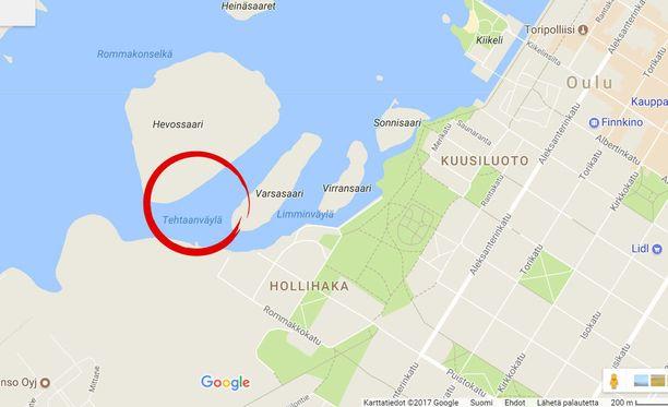 Tapaus sattui lähellä Oulun keskustaa Hollihaan edustalla.