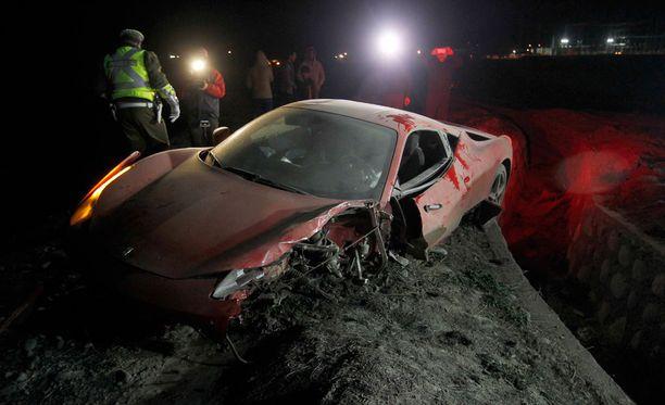 Arturo Vidalin Ferrari vaurioitui pahasti.