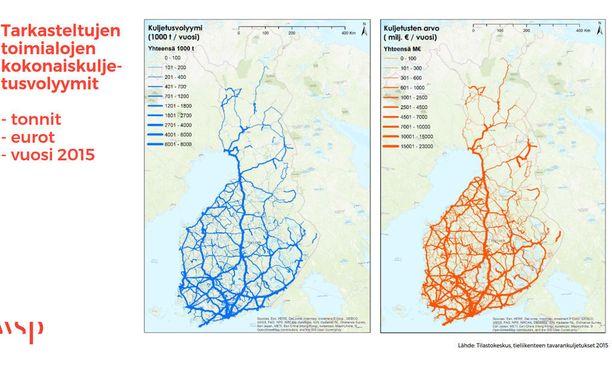 Tämä kuva osoittaa, että Suomen halki Helsingistä Utsjoelle johtava nelostie on Suomen selkäranka.