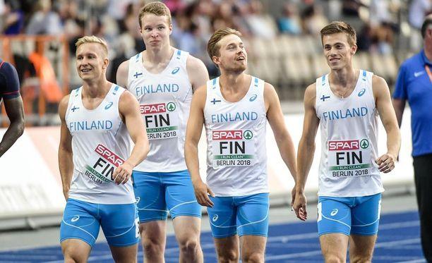 Suomen pikaviestimiehet juoksivat komean Suomen ennätyksen 39,11.