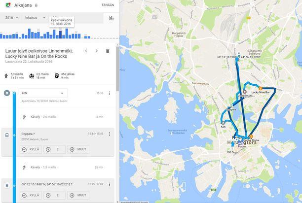 Google tietää tarkasti, missä olen liikkunut lauantaina 22. lokakuuta. Klikkaamalla saat kuvan suuremmaksi.