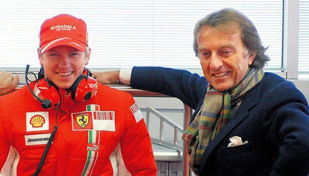 DAY ONE Luca di Montezemolo (oik.) seuraa tänään tarkkaan, kun Kimi Räikkönen ajaa ensimmäiset kilometrit Ferrarilla.