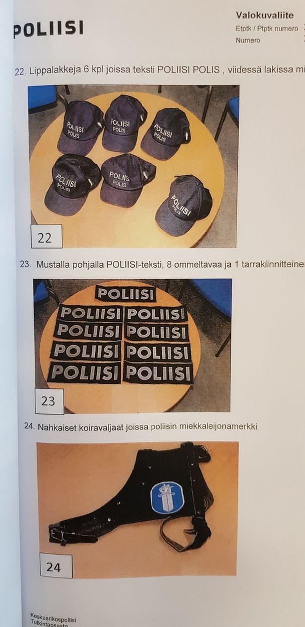 Ja muita poliisin vartusteita imitoivia asusteita.