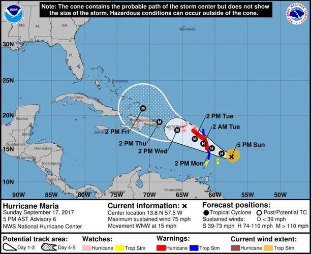 Ykköskategorian hurrikaani Maria etenee kohti Karibiansaaria, jotka joutuivat aiemmin tässä kuussa hurrikaani Irman runnomiksi.