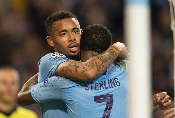 Juhlivatko Manchester Cityn Gabriel Jesus ja Raheem Sterling tänään paikallisottelussa?
