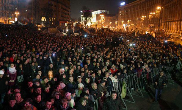 Maidanin aukiolle kokoontui viime vuonna satojatuhansia ukrainalaisia.