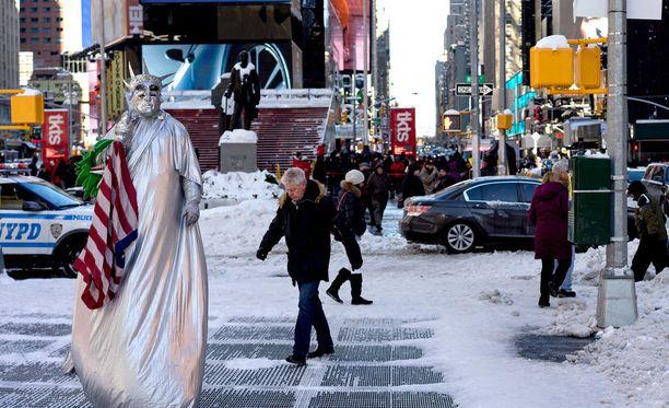 """New Yorkissa oli tammikuussa """"maailman pääkaupungin"""" historian yksi pahimmista lumimyrskyistä."""