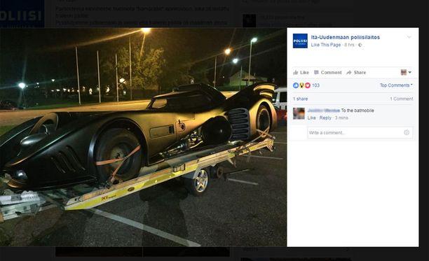 Auto on herättänyt keskustelua Facebookissa. Kuvakaappaus.