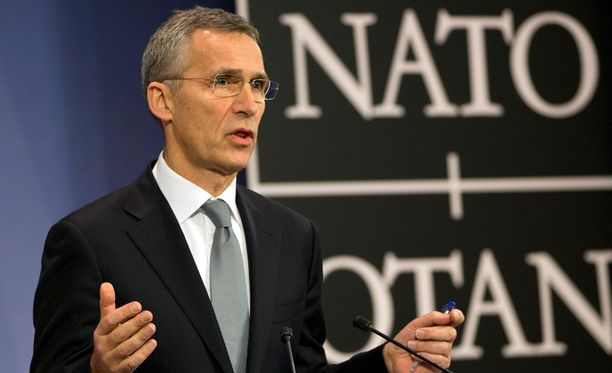 Naton pääsihteeri Jens Stoltenberg puhui Naton ulkoministerikokouksessa.