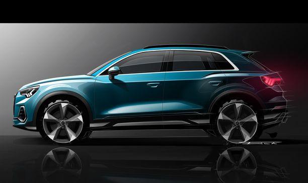 Audi ryhtyy valmistamaan Q3-kokoluokan täyssähköautoa. Kuvassa kuitenkin vielä tavallisen Audi Q3-mallin luonnoskuva.