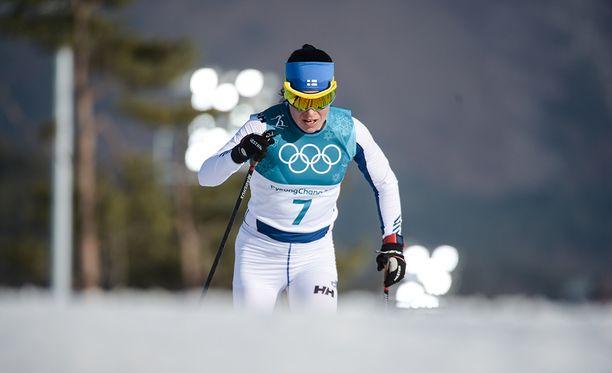 Krista Pärmäkosken sprintti päättyi epäonnisesti.