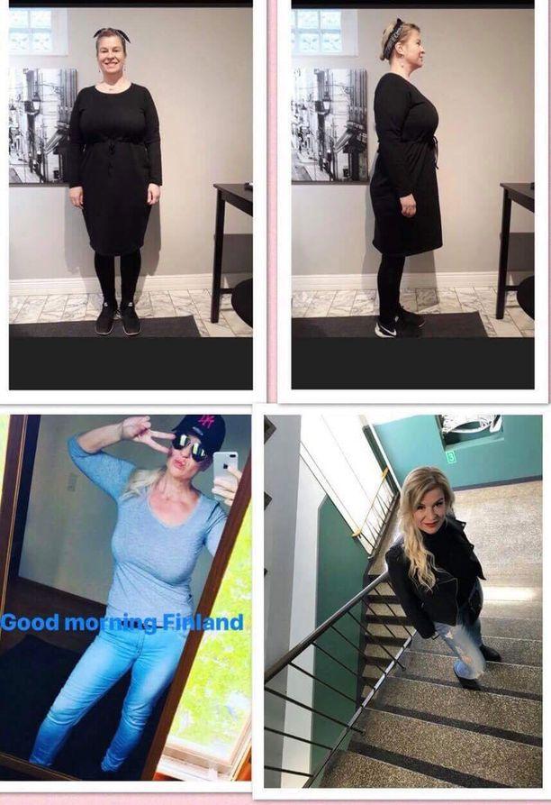 Claudia Eve on dokumentoinut laihdutustaan. Kuvan yläosassa mustiin pukeutunut nainen poseeraa laihdutusprojektin alussa. Alemmissa kuvissa näkyy edistyminen painonpudotuksessa.