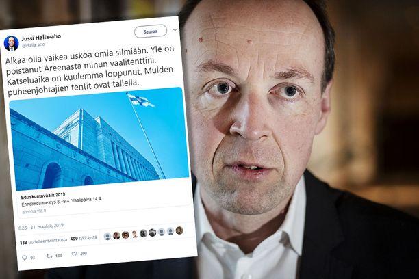 Jussi Halla-aho kommentoi vaalitenttistä poistumista Yle Areenasta sunnuntaina.