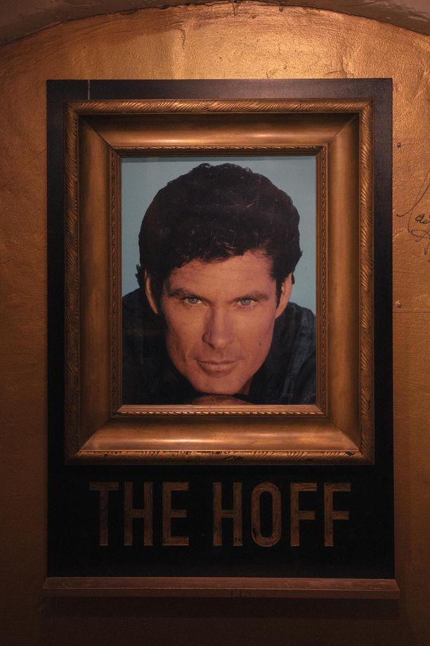 Museon seiniä koristavat Hasselhoffin kuvat.