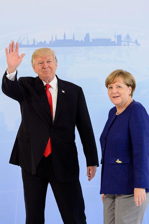 Donald Trumpin ja Angela Merkelin kasvoilla käväisi hymy, mikä voidaan luokitella hurjaksi edistyksesi viime tapaamiseen verrattuna.