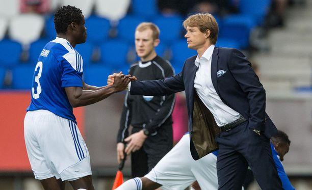 HJK:n päävalmentaja Mika Lehkosuo joutuu vielä odottamaan Taye Taiwon kuntoutumista.