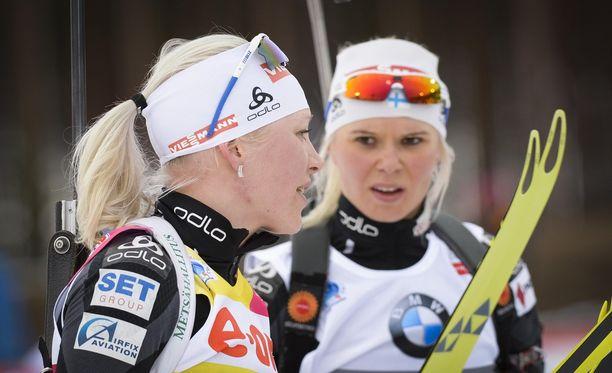 Kaisa Mäkäräinen (vas.) ja Mari Laukkanen eivät ole tehneet päätöstään uransa jatkosta.