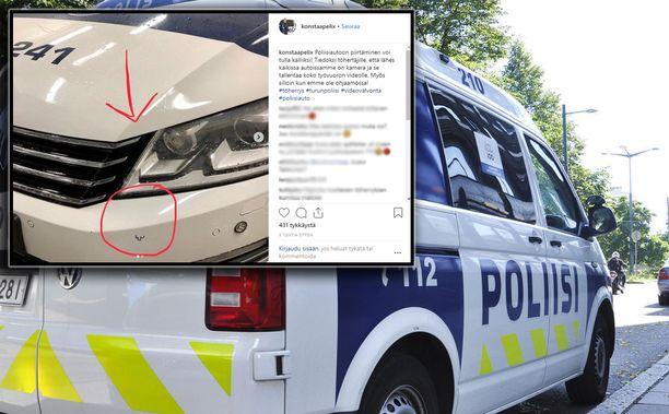 Poliisin Instagramiin laittamassa kuvassa on pieni, mutta hävytön töherrys.