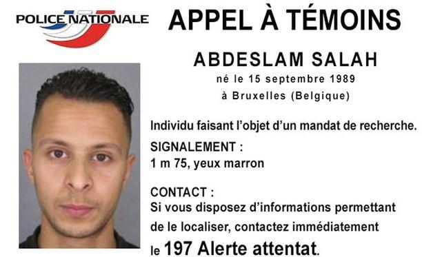 Viranomaiset etsivät tällä hetkellä Salah Abdeslamia, jonka epäillään olevan osallinen Pariisin terrori-iskuihin.