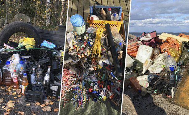 Inkeri Pekkanen keräsi ystävineen roskia Hangon luonnosta yli tonnin verran.