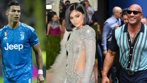 Cristiano Ronaldo, Kylie Jenner ja Dwayne Johnson sijoittuvat listalle.