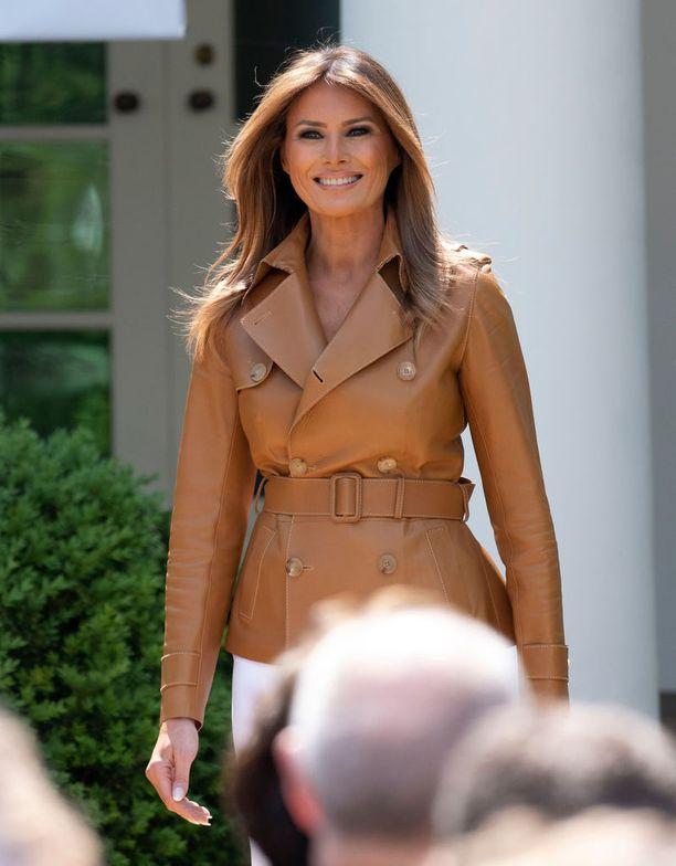 Tässä nahkatakissa Melania Trump edusti toukokuussa.