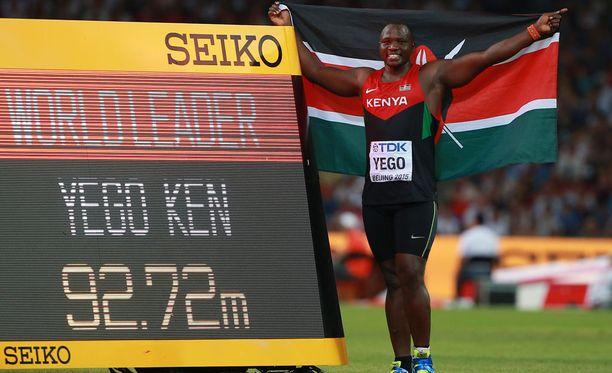 Julius Yego voitti MM-kultaa vuonna 2015 Pekingissä tuloksella 92,72.