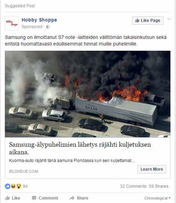 Facebookissa huijausta jaetaan ainakin tämän näköisellä postauksella.