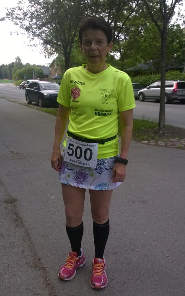 Kuva otettu, kun Ritva juoksi elämänsä 500 maratonin.
