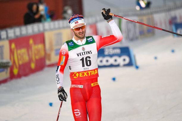 Hans Christer Holund oli sunnuntaina Rukan maailmancupin nopein mieshiihtäjä.
