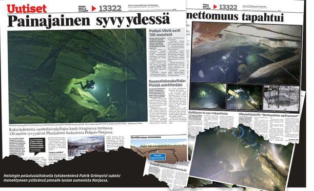Helsingin pelastuslaitoksella työskentelevä Patrik Grönqvist sukelsi menehtyneen ystävänsä pinnalle luolan uumenista Norjassa.
