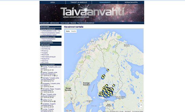Ursan Taivaanvahti -palveluun tuli lauantai-iltana yli 240 havaintoa oudosta valoilmiöstä Etelä-Suomessa.