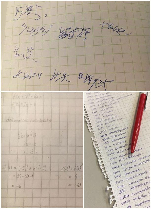 Ensin kirjoittaminen oikealla kädellä tuotti vain sekavia merkintöjä. Viime keväänä Nanna kuitenkin kirjoitti käsin matematiikan ylioppilaskirjoituksissa. Siitä ote vasemmalla alhaalla.
