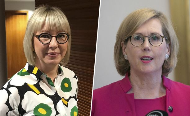 Sosiaali- ja terveysministeri Aino-Kaisa Pekonen (vas) ja työministeri Tuula Haatainen (sd).
