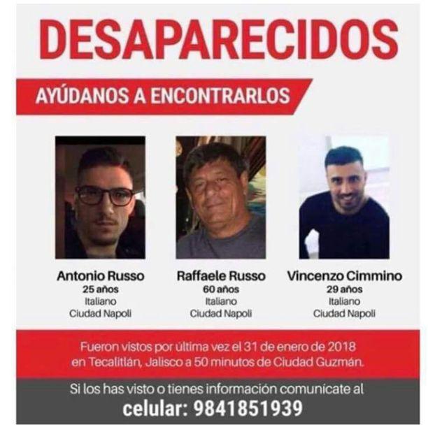Italialaiset sukulaismiehet Antonio Russo, Raffaele Russo ja Vincezo Cimmino katosivat Meksikossa tammikuun viimeisenä päivänä.